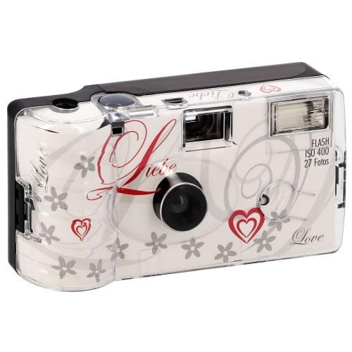 "Appareil photo jetable MARIAGE Mariage flash Motif ""Love"" 400 iso - 27 poses"