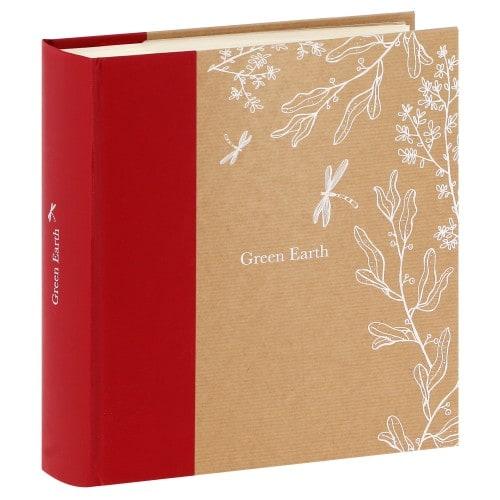 pochettes avec mémo GREENEARTH LIBELLULE - 100 pages ivoires - 200 photos - Couverture Rouge 23x24,8cm