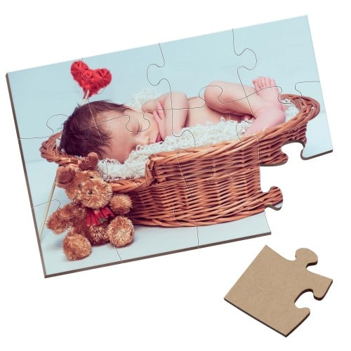 Puzzle rectangulaire - Bois - Finition brillante - Dim. 18x26cm - 12 pièces - Epaisseur 0,3cm