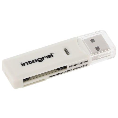 Lecteur carte mémoire INTEGRAL multi-cartes avec 2 slots supportant 6 formats USB 2.0