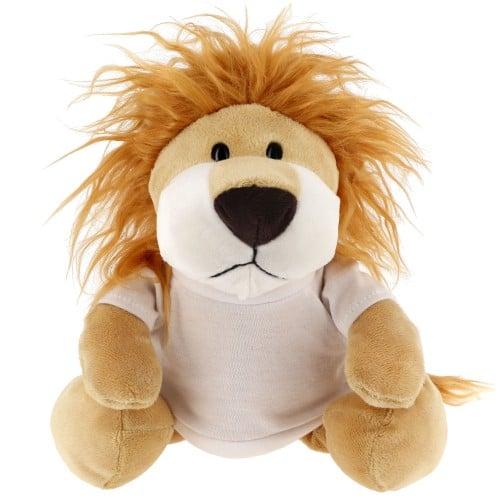 Peluche Lion + T-shirt blanc - Hauteur 23cm