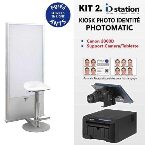 ID STATION - Kiosk photo identité Kit Photomatic - Imprimante + tablette + logiciel bio. + CANON 2000D + câble 5m + support + Fond Flash + Siège + Pack ANTS 1000 + installation et formation