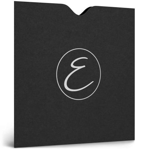 Pochette bon cadeau 250g papier noir impression blanche
