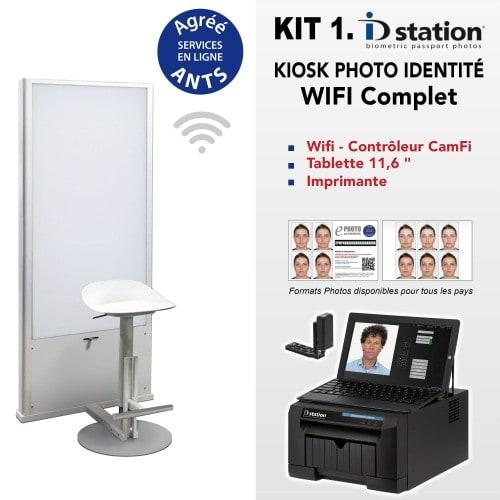 ID STATION - Kiosk photo identité Kit Wifi + imprimante + tablette + logiciel bio. + contrôleur CamFi + Fond Flash + Siège + Pack ANTS 1000 + installation et formation