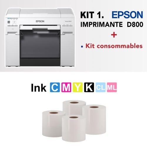 SureLab D800 avec kit consommables : 6 cartouches d'encre + 4 rouleaux de papier (2 en 152mm et 2 en 203 brillant)