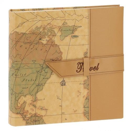 TRAVEL 2 - 100 pages blanches traditionnelles + feuillets cristal - 400 photos - Couverture Camel 30,5x30,5cm