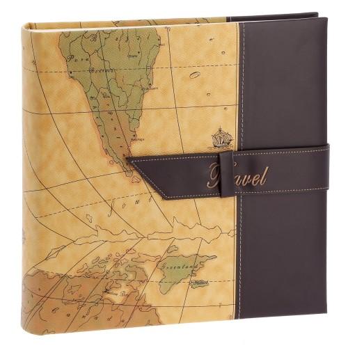 TRAVEL 2 - 100 pages blanches traditionnelles + feuillets cristal - 400 photos - Couverture Brune 30,5x30,5cm