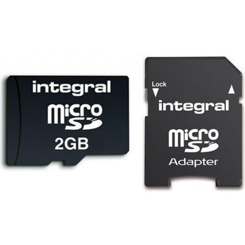Carte mémoire SD micro INTEGRAL micro SD 2 GB (avec adaptateur SD)