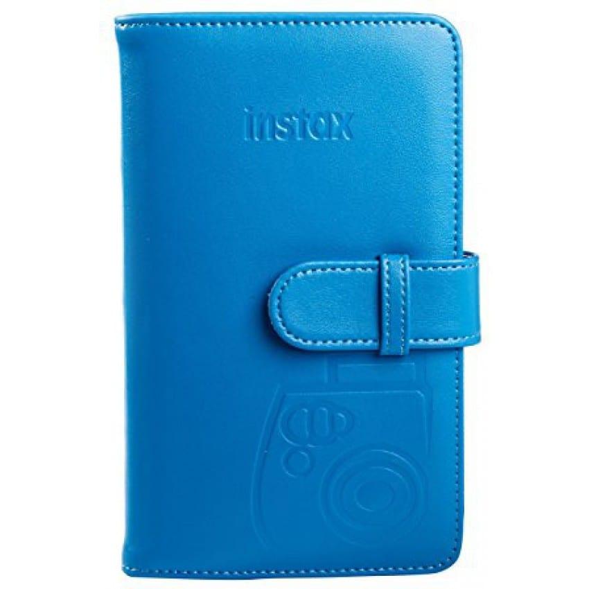 Mini album photo FUJI à pochettes - Simili cuir bleu cobalt - 120 vues / 3 vues par page - Pour Instax Mini
