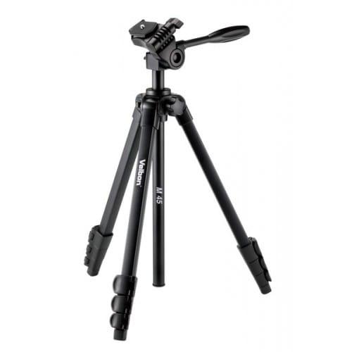 Trépied VELBON M-45 avec sac et tête photo 3D - Dimension plié : 46,4cm - Hauteur maxi : 1,56m - Poids : 0,945kg - Charge totale