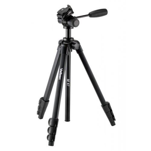 Trépied VELBON M-47 avec sac et tête fluide vidéo - Dimension plié : 47,2cm - Hauteur maxi : 1,55m - Poids : 0,990kg - Charge to