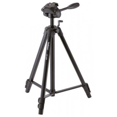 Trépied VELBON EX-530 avec sac - Dimension plié : 57cm - Hauteur maxi : 1,56m - Poids : 1,45kg - Charge totale maxi : 4kg
