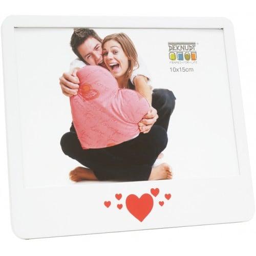 Cadre photo DEKNUDT S68KK1 E1H - bois blanc - cœurs rouges - pour photo 10x15cm